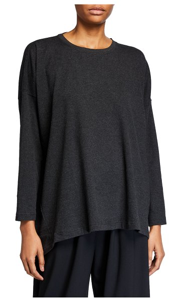 eskandar Round-Neck Long-Sleeve Smaller Front Larger Back Pima Cotton Jersey T-Shirt in charcoal