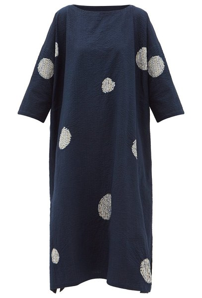 eskandar scattered disc shibori-dyed cotton tunic dress in navy white