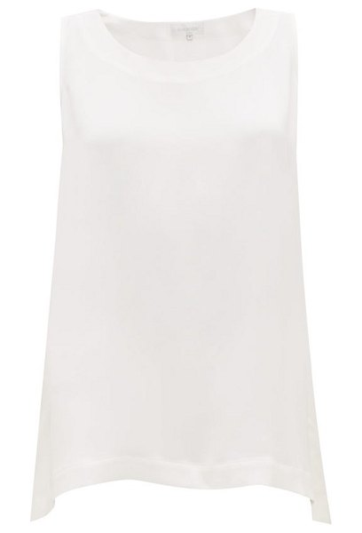 eskandar sleeveless silk top in white