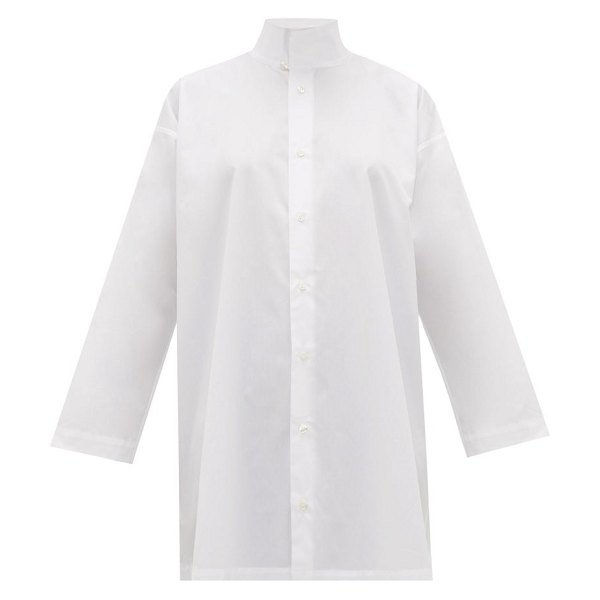 eskandar two-collar cotton-poplin shirt in white