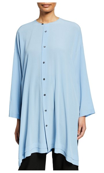 eskandar Wide Button-Front A-Line Shirt in light blue
