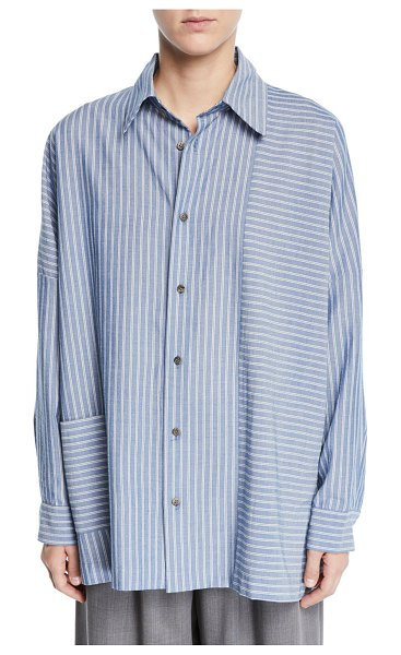eskandar Wide-Striped Paneled Button-Front Shirt in blue