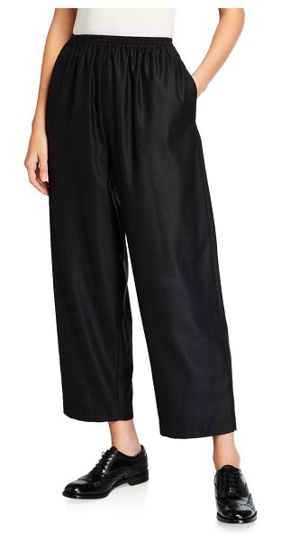 eskandar Wool-Silk Japanese Trousers in black/gray
