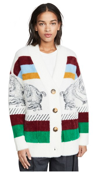 Essentiel Antwerp turf soft stripes cardigan in nugget combo