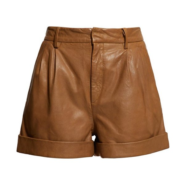 Etoile Isabel Marant abot high rise washed leather shorts in camel