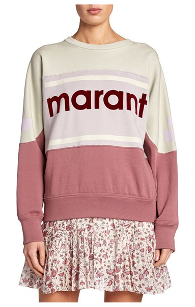 Etoile Isabel Marant Gallian Colorblock Logo Pullover Sweatshirt in rose