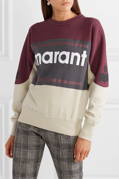 Etoile Isabel Marant gallian flocked cotton-blend fleece sweatshirt in burgundy