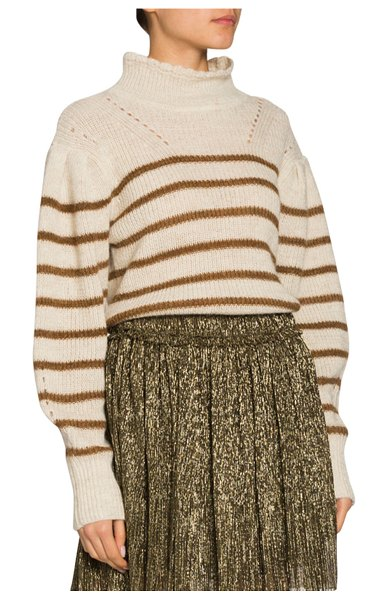 Etoile Isabel Marant Georgia Striped Drop-Shoulder Turtleneck Sweater in bronze