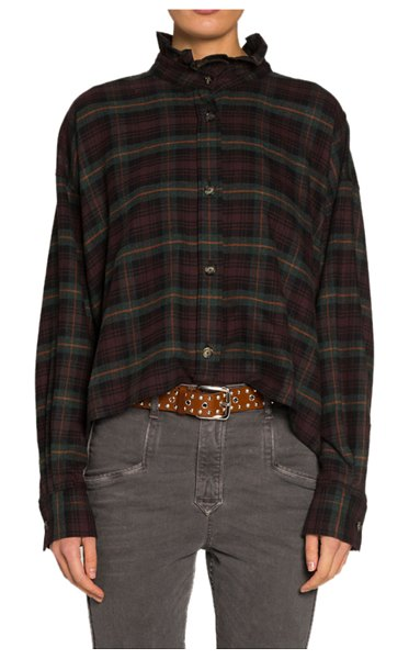Etoile Isabel Marant Ilaria High-Neck Plaid Button-Front Top in bronze