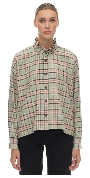 Etoile Isabel Marant Ilaria plaid cotton flannel shirt in green,pink