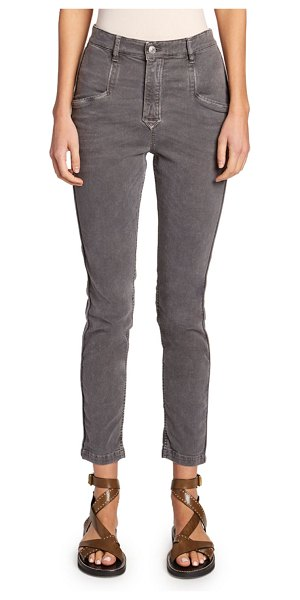Etoile Isabel Marant Jamie Mid-Rise Straight-Leg Pants in dark gray