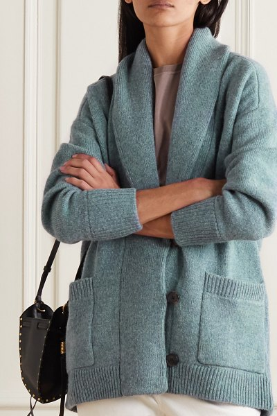 Etoile Isabel Marant malhone oversized wool and cotton-blend cardigan in blue