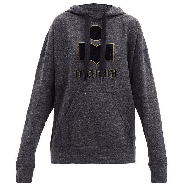 Etoile Isabel Marant mansel logo hooded cotton-blend sweatshirt in dark grey