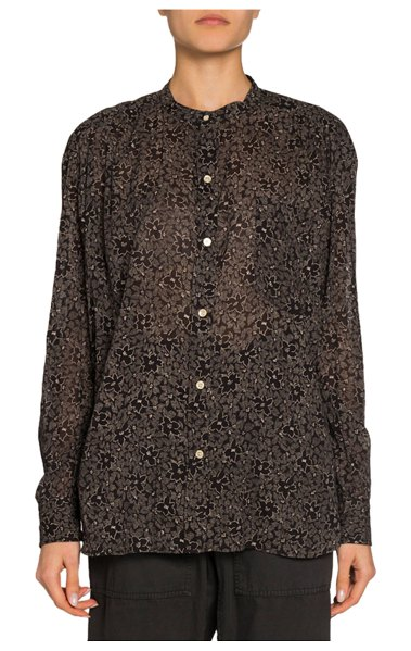 Etoile Isabel Marant Mexika Floral Band-Collar Button-Down Top in black