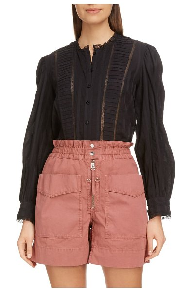 Etoile Isabel Marant peachy pleated lace inset blouse in black