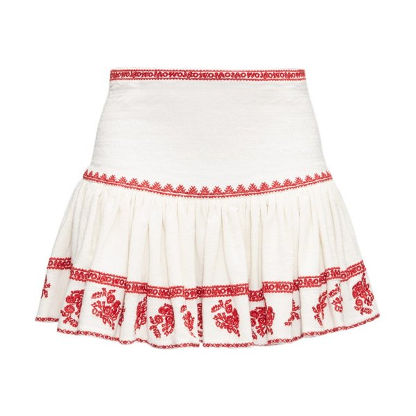 Etoile Isabel Marant russel embroidered cotton mini skirt in red white
