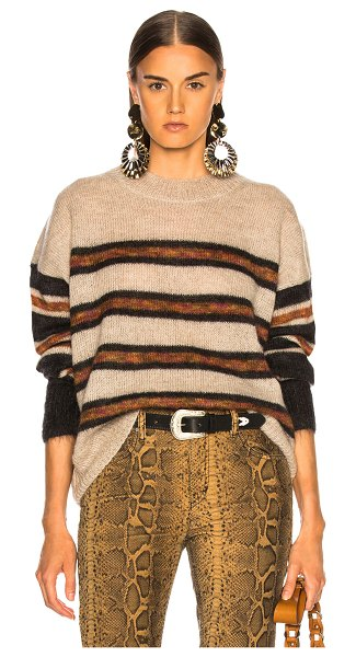 Etoile Isabel Marant Russell Sweater in black,orange,neutral,stripes - 67% superkid mohair 28% polyamide 5% wool.  Made in...