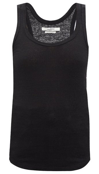 Etoile Isabel Marant vickyo ribbed linen tank top in black