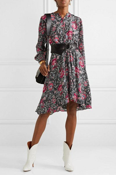 Etoile Isabel Marant yandra floral-print silk crepe de chine dress in black