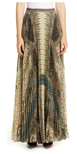 Etro brocade print pleated maxi skirt in beige