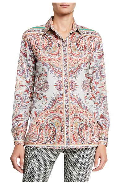 Etro Cotton Paisley Placed Fern Shirt in red