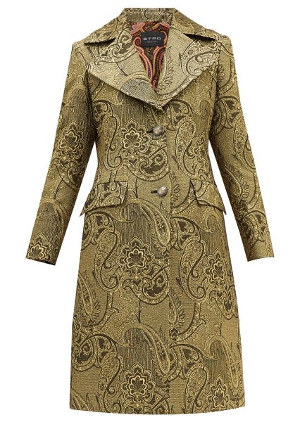Etro cumbria single-breasted paisley-brocade coat in gold