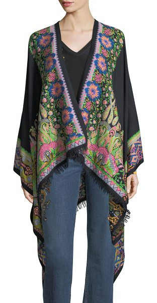 ETRO Embroidered Floral Paisley Cape - Etro cape featuring embroidered floral paisley design. Open...