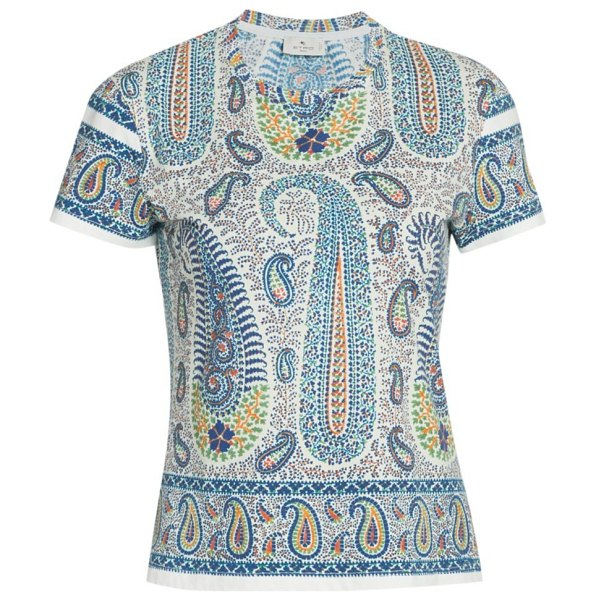 Etro fitted paisley jersey t-shirt in navy