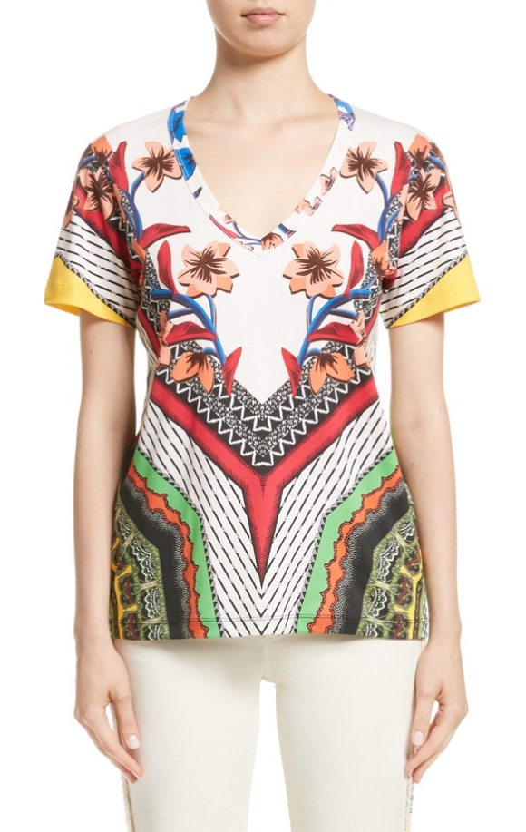Etro floral geo print tee in white - Etro trademarks meet traditional African motifs on this...