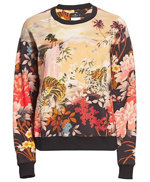 Etro floral jersey knit crewneck sweater in black