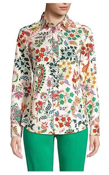 Etro floral paisley button-down shirt in neutral