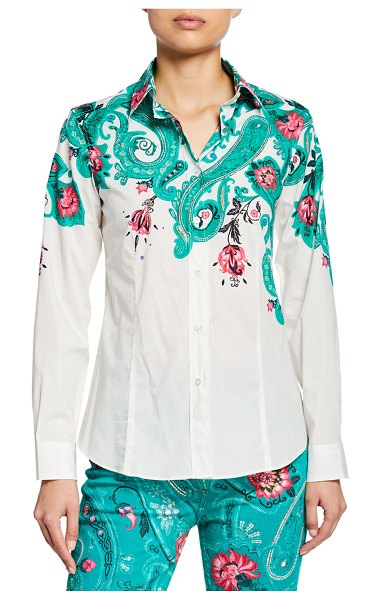Etro Floral-Placed Shirt in green