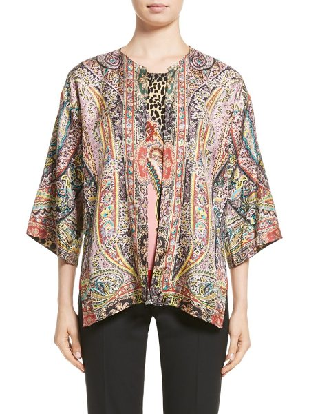 Etro leopard & paisley reversible silk jacket in red - With a perky paisley print on one side and bold leopard...