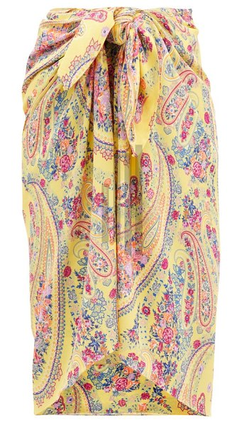 Etro paisley-print georgette sarong in yellow multi