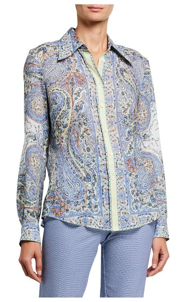 Etro Paisley-Print Ramie Shirt with Contrast Placket in navy