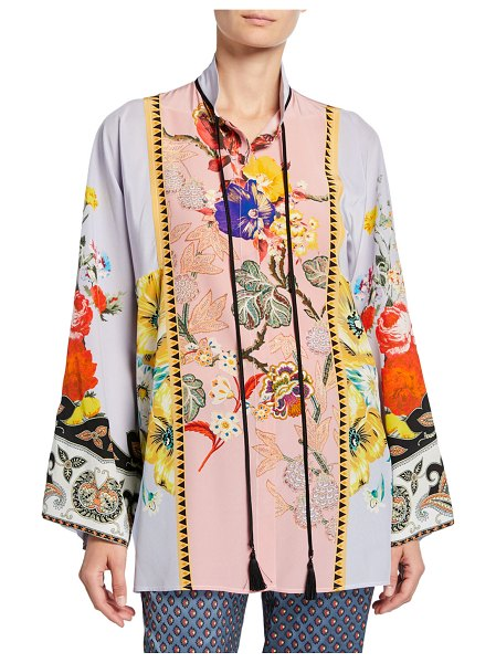 Etro Placed Rose Floral Tie-Neck Tunic in purple