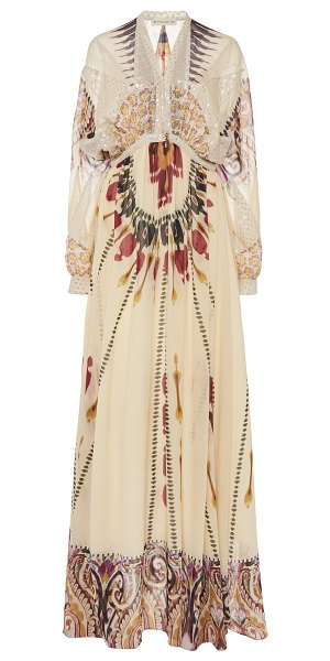 Etro printed silk maxi dress in black - Black and white silk. Hook and concealed zip fastening...