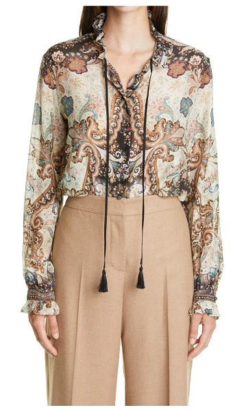Etro tie neck print blouse in brown