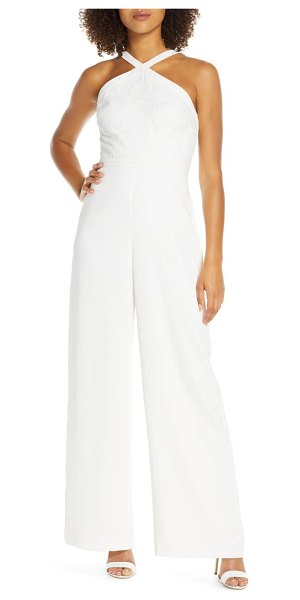 EVER NEW ally embroidered halter jumpsuit in ivory