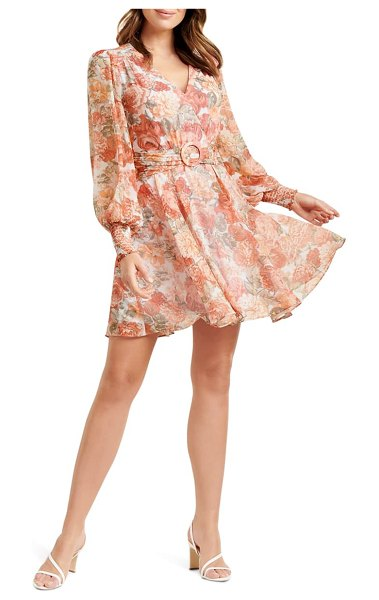 EVER NEW coral sunrise floral print long sleeve minidress in coral sunrise floral