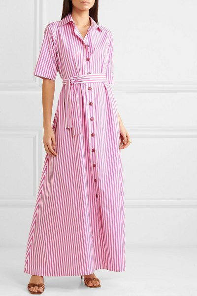 Evi Grintela valerie belted striped cotton-poplin maxi dress in pink