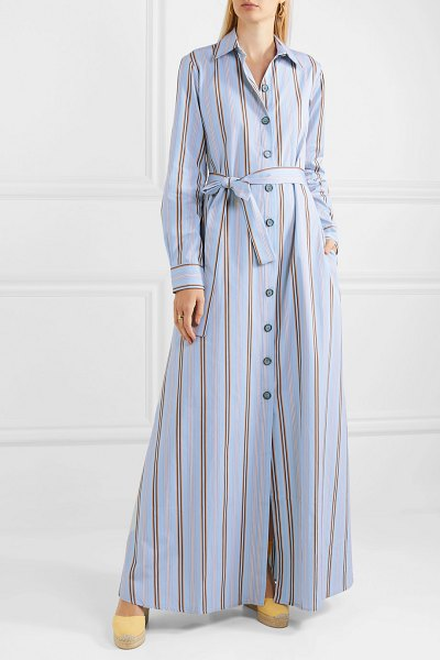 Evi Grintela valerie belted striped cotton-poplin maxi dress in blue