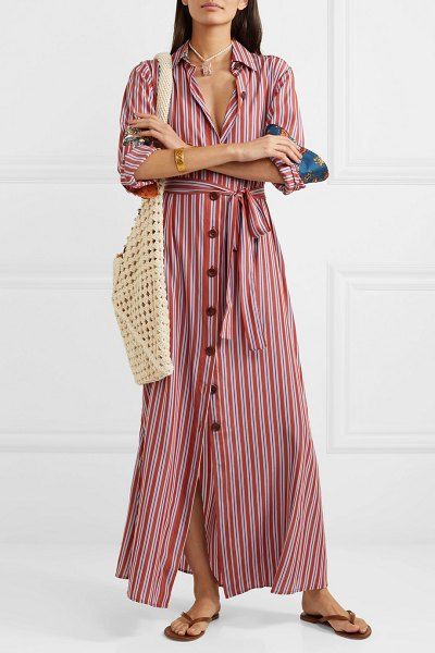 Evi Grintela valerie belted striped lyocell maxi dress in red