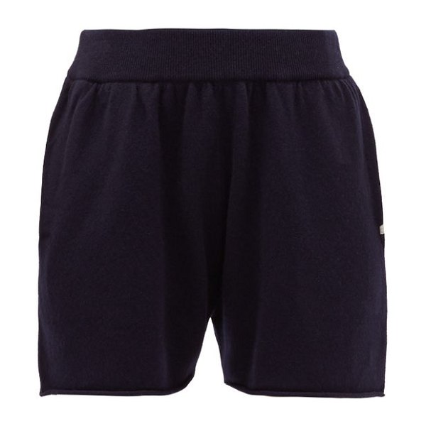 Extreme Cashmere no. 29 stretch-cashmere track shorts in navy