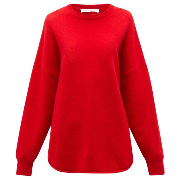 Extreme Cashmere no. 53 crew hop stretch-cashmere sweater in red