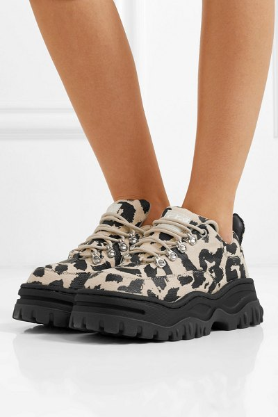 Eytys angel leopard-print cotton-canvas platform sneakers in leopard print - The 'Angel', Eytys' take on the dad sneaker, has become...
