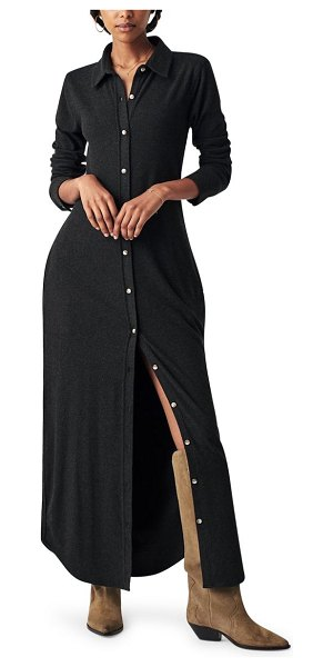 Faherty legend button-up long sleeve maxi shirtdress in heathered black twill