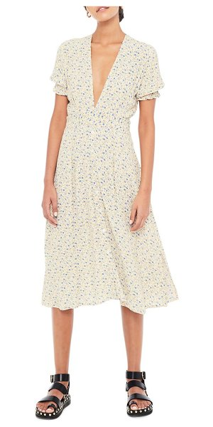 FAITHFULL THE BRAND farah ditsy floral print midi dress in medina floral vintage yellow