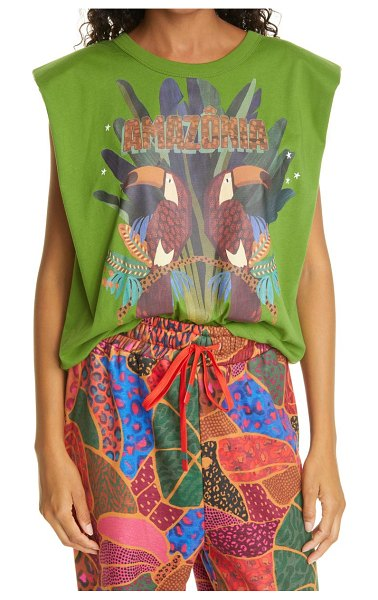 Farm Rio amazonia cotton graphic muscle tee in musk green