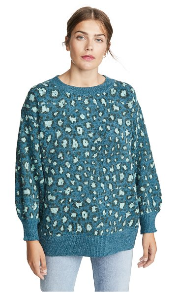 Farm Rio green leopard knit sweater in green leopard